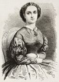 Adelina Patti old engraved portrait (Italian opera singer). Created by Pauquet and Chapon, published on L'illustration, Journal Universel, Paris, 1863