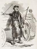 Berliner people: white sand seller old illustration. Created by Loeffler, published on L'Illustration, Journal Universel, Paris, 1863