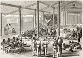 Vinh Long feast given in honour of French vice-admiral Bonard by local authorities (Cochinchina, at present days Vietnam). Created by Godefroy-Durand, published on L'Illustration, Paris, 1863