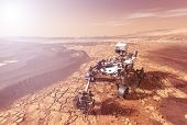 Mars Rover Explores The Surface Of The Planet Mars. Elements Of This Image Were Furnished By Nasa Fo poster