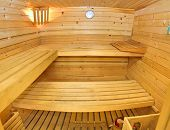 Interior of wooden sauna.