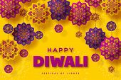 Diwali Festival Of Lights Typographic Design With Paper Cut Indian Rangoli. Purple Color On Yellow B poster