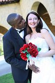 Attractive Interracial Wedding Couple