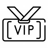 Vip Badge Icon. Outline Vip Badge Vector Icon For Web Design Isolated On White Background poster