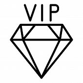 Vip Diamond Icon. Outline Vip Diamond Vector Icon For Web Design Isolated On White Background poster