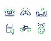 Sports Stadium, Arena Stadium And Bicycle Line Icons Set. Certificate, Arena And Best Rank Signs. Sp poster