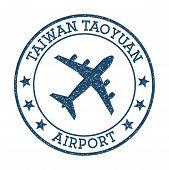 Taiwan Taoyuan Airport Logo. Airport Stamp Vector Illustration. Taipei Aerodrome. poster