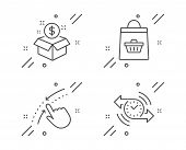 Swipe Up, Post Package And Online Buying Line Icons Set. Timer Sign. Touch Down, Postbox, Shopping C poster