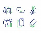 Smartphone, Employees Wealth And 3d Chart Line Icons Set. Accounting Wealth, Dots Message And Smartp poster