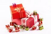foto of reveillon  - Shiny colorful Christmas presents - JPG