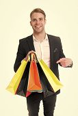 Purchase Delivery. Businessman Use Shopping Application. Man Carries Shopping Bag White Background.  poster