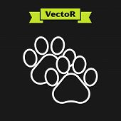 White Line Paw Print Icon Isolated On Black Background. Dog Or Cat Paw Print. Animal Track. Vector I poster