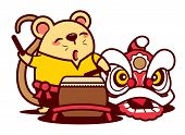 Cartoon Cute Rat Playing Lion Dance Drum With Southern Lion. Chinese New Year 2020 - Vector poster