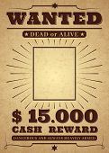 Western Poster. Old West Paper Blank Reward With Stars And Messages, Isolated Vintage Wanted Vector  poster