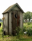stock photo of outhouses  - old wooden outhouse in a garden with crescent moon on the door - JPG