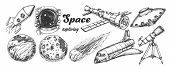 Collection Of Space Exploring Elements Set Vector. Space Rocket And Shuttle, Satellite And Ufo, Aste poster