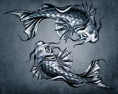 Duality concept tattoo, two  Japanese goldfish on blue vintage background