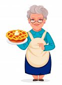Happy Grandparents Day. Cheerful Grandmother Cartoon Character Holding A Delicious Pumpkin Cake. Vec poster