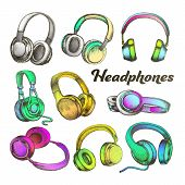Color Different Sides Headphones Set Vector. Modern Portable Electronic Device Headphones For Listen poster