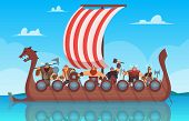 Vikings Battle Ship. Travel History Boat With Norway Vikings Warrior Vector Cartoon Background. Ship poster