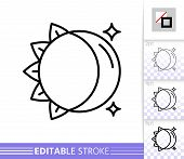 Moon And Sun Thin Line Icon. Day And Night Flat Style Banner. Celestial Poster. Linear Pictogram. Si poster