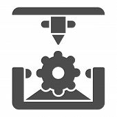 Cogwheel 3d Printing Solid Icon. 3d Printing Mechanics Vector Illustration Isolated On White. Gear 3 poster