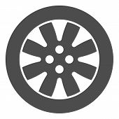Tire Solid Icon. Automobile Wheel Vector Illustration Isolated On White. Car Part Glyph Style Design poster