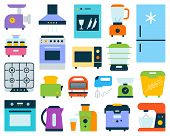 Kitchen Appliance Simple Flat Cartoon Style Set. Equipment Sign Collection Includes Blender, Juicer, poster