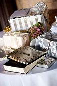 gift table and guest book during a wedding reception