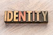 identity word abstract in vintage letterpress wood type poster
