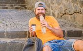 Junk Food. Guy Eating Hot Dog. Man Bearded Enjoy Quick Snack And Drink Paper Cup. Street Food So Goo poster