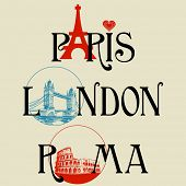 Paris, London and Roma lettering, famous landmarks Eiffel Tower, London Bridge and Colosseum poster