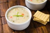 Tasty Clam Chowder Soup. poster