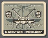 Construction Service And Repair Tools And Equipment Shop Vintage Poster. Vector Carpentry And Woodwo poster