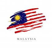 Flag Of Malaysia. Vector Illustration On A White Background. Brush Strokes Are Drawn By Hand. Indepe poster