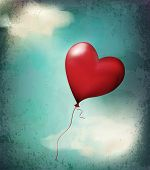 retro card( balloon-hearts flying in the sky)