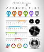 Audio tools design elements collection: pins, music player icons, speakers, bars with values, on off buttons and so on.