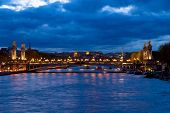 Bridge of Alexandre III at night,  Paris, France
