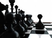 picture of spawn  - 3d render of chess pieces and spawn in front - JPG