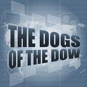 die Hunde des Wortes Dow auf dem digitalen Bildschirm