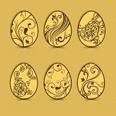 Painted Easter Eggs On Brown