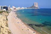 Beautiful view on sandy beach in Calpe in Spain