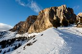 Rocky Mountains On The Skiing Resort Of Colfosco, Alta Badia, Dolomites Alps, Italy
