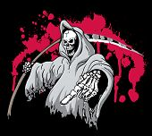 picture of scythe  - Death Grim Reaper Pointing and holding a scythe - JPG