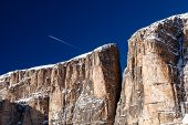 Cliffs On Peak Vallon At Ski Resort Of Corvara, Alta Badia, Dolomites Alps, Italy