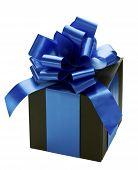 Gift Box With Blue Ribbon Bow On White