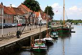 Ribe Harbour Skibbroen. Old Town And Ribe River.