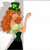 Pretty slim red-haired girl Leprechaun holding a large banner for your message