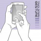 Usan gestos de pantalla táctil de teléfono móvil: pellizcar