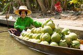 Seller on Boat at Damnoen Saduak Floating Market